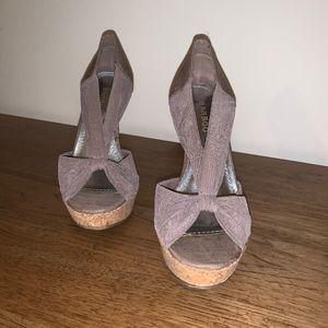 Grey Mesh Heels